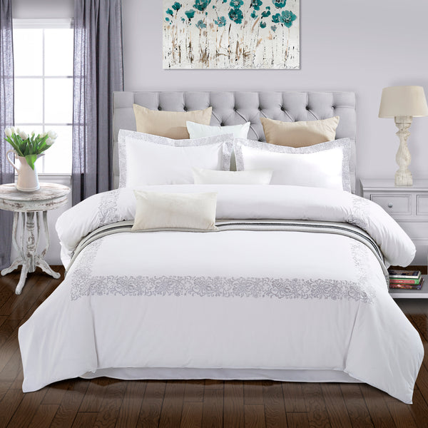 Moonlawn Embroidered Duvet Cover Set, Long-Staple Cotton, 3 Sizes