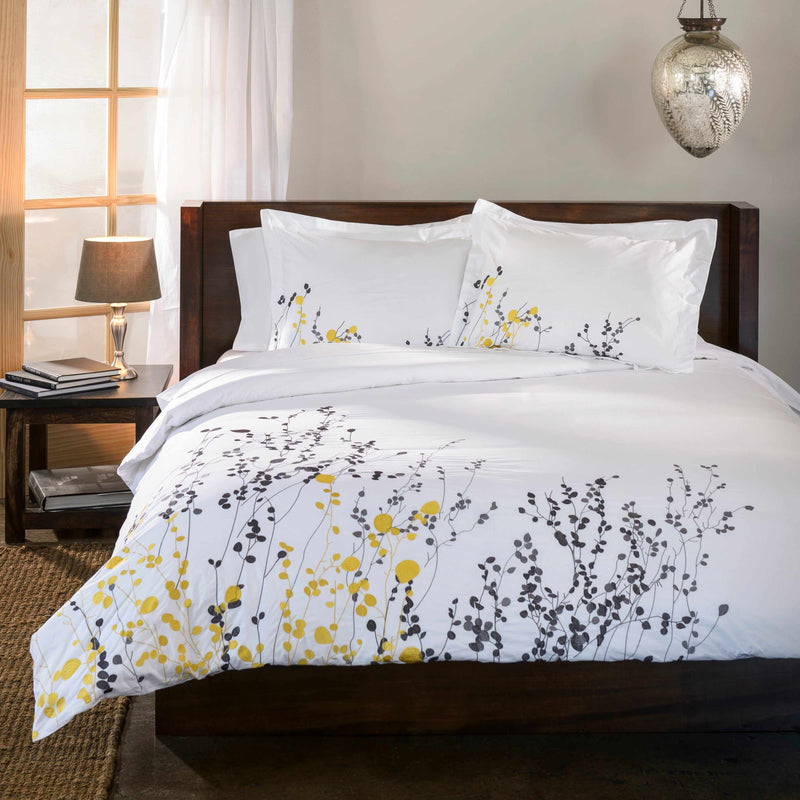 Reed 100% Cotton Floral Abstract Embroidered Duvet Cover Set