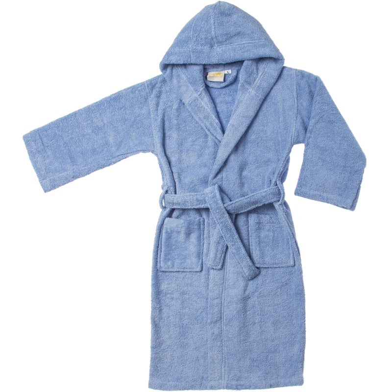 Kids' Hooded Long Staple Combed Cotton Terry Unisex Solid Bath Robe