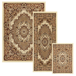 Tayana Indoor Area Rug, Floral, French Aubusson Design, Vintage, 3-Pieces