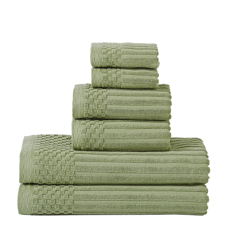 West Harlem 100% Combed Cotton Towel Set, Ribbed Stripes, 6-Pieces (2 Bath, 2 Hand, 2 Face)