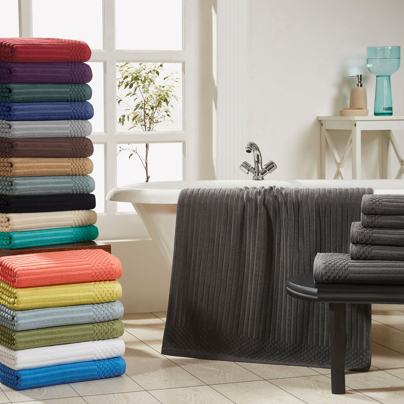 Soho Cotton Textured Ribbed Checker Border Absorbent 6-Piece Towel Set