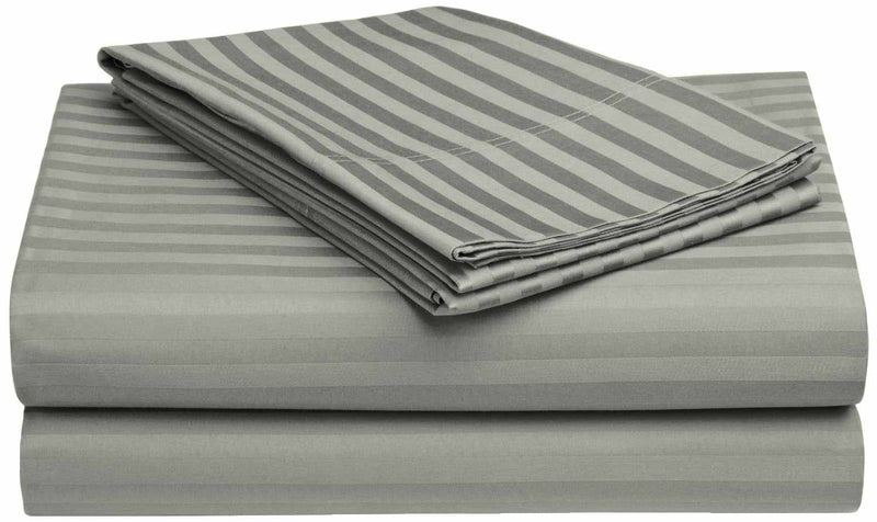 650-Thread Count 100% Egyptian Cotton Striped Deep Pocket Sheet Set