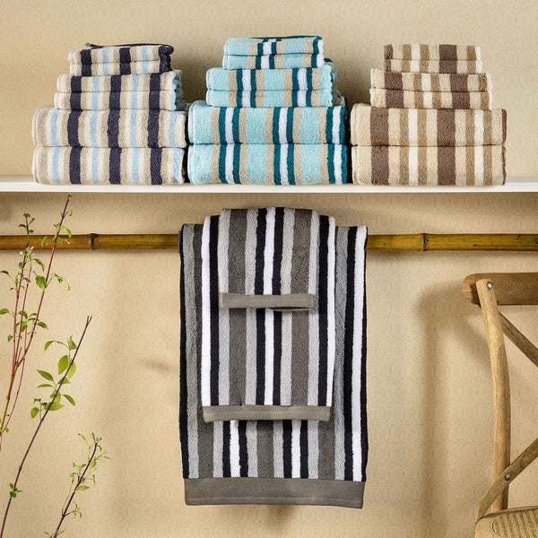 Decorative Striped 6-Piece Bath Towel Set