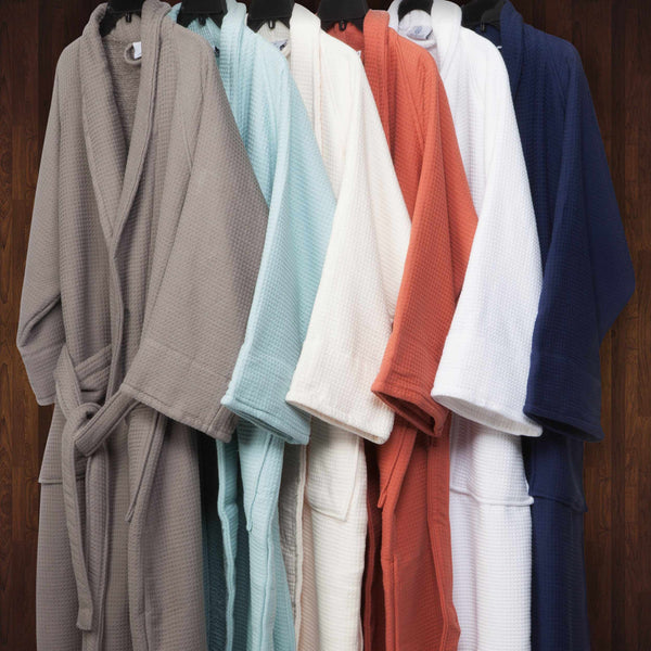Bathrobe for Women and Man Soft Cotton Waffle Weave Lightweight SPA Robe 6 Color