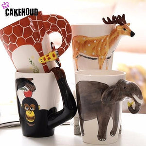 ca7b6a41f1d Creative 3D Frosted Animal Ceramic Coffee Cup Set, 400ml Tea ,Cup, Home,