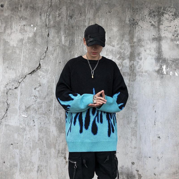 Retro Blue Flame Sweater - HA3XUN