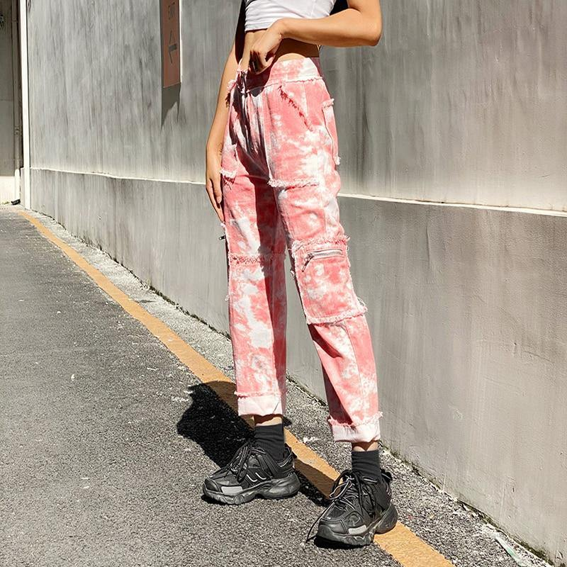 Distressed Tie Dye Jeans - buy techwear clothing fashion scarlxrd store pants hoodies face mask vests aesthetic streetwear