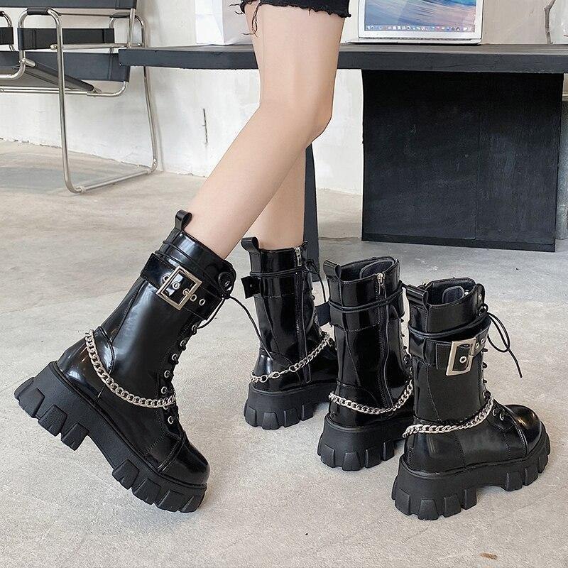 Goth Platform Boots - buy techwear clothing fashion scarlxrd store pants hoodies face mask vests aesthetic streetwear