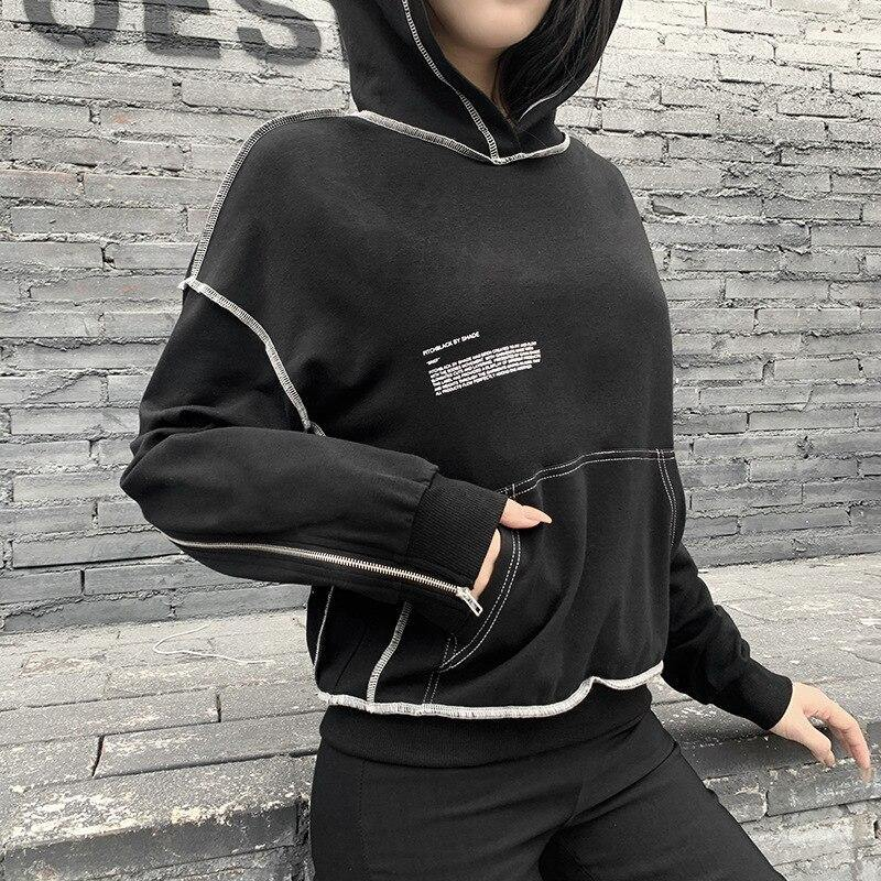 Sleeve Zipped Code Hoodie - buy techwear clothing fashion scarlxrd store pants hoodies face mask vests aesthetic streetwear