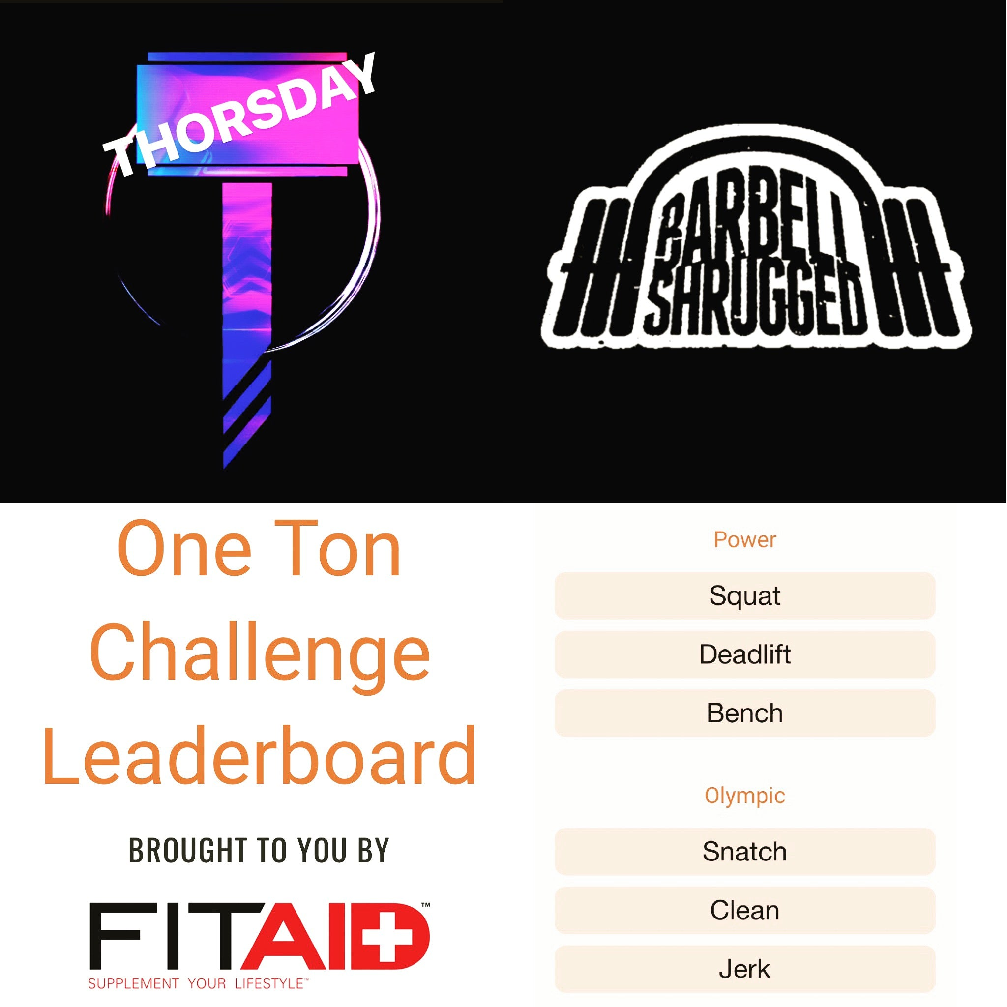Thorsday 16-05-19 with The Barbell Shrugged Collective and FitAid