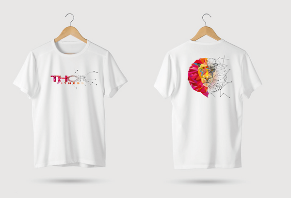 Geometric Red Lion - White T-Shirt