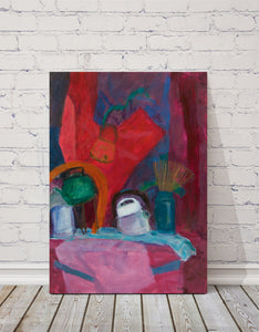 "Still Life with Kettles : 39"" x 28"" - 100 x 70 cm - by Pamela Rys"
