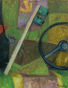 "Still Life with Steering Wheel : 35"" x 28"" - 90 x 70 cm - by Pamela Rys"