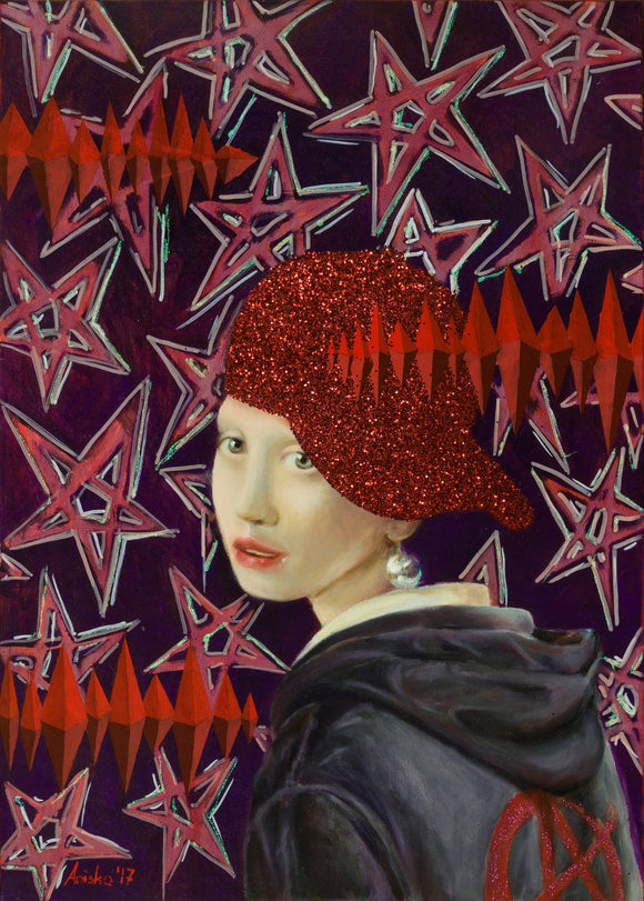 Girl with a Pearl Earring and Glitter Cap - SOLD - by MK Anisko