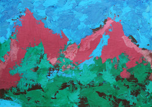 "Mountains Landscape : 12"" x 17"" - 30 x 42 cm - by Pamela Rys"