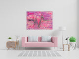 "Pink Heart Beat : 28"" x 39"" - 70 x 100 cm - by Pamela Rys"