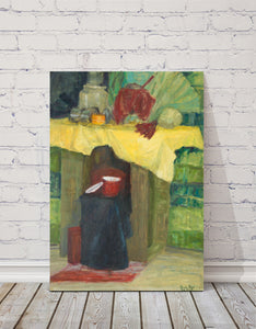 "Still Life with Red Pot : 39"" x 28"" - 100 x 70 cm - by Pamela Rys"