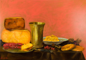 "Still Life with GMO Food and Cancer : 15"" x 22"" - 39 x 55 cm by MK Anisko"