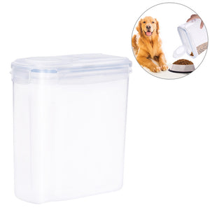 UEETEK 4L Pet Dog Food Storage Container with Graduated Scale Transparent