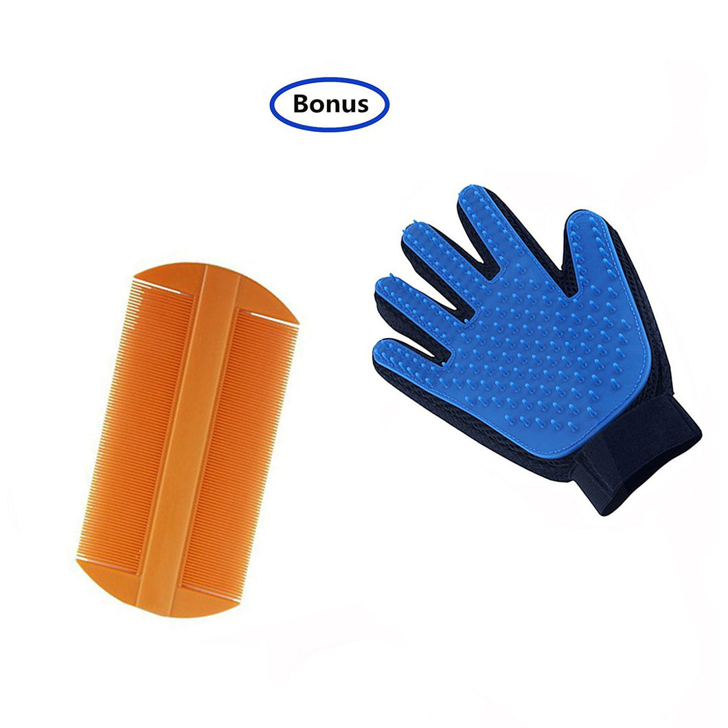 2 Pack  Flea Comb for Dogs and Cats with Pet Grooming Glove for Dog