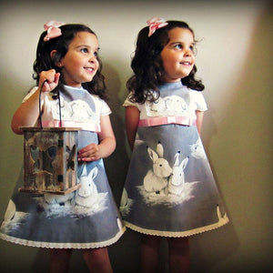 Toddler Baby Girls Short Sleeve Lace Easter Day Rabbit Print Dress Clothes