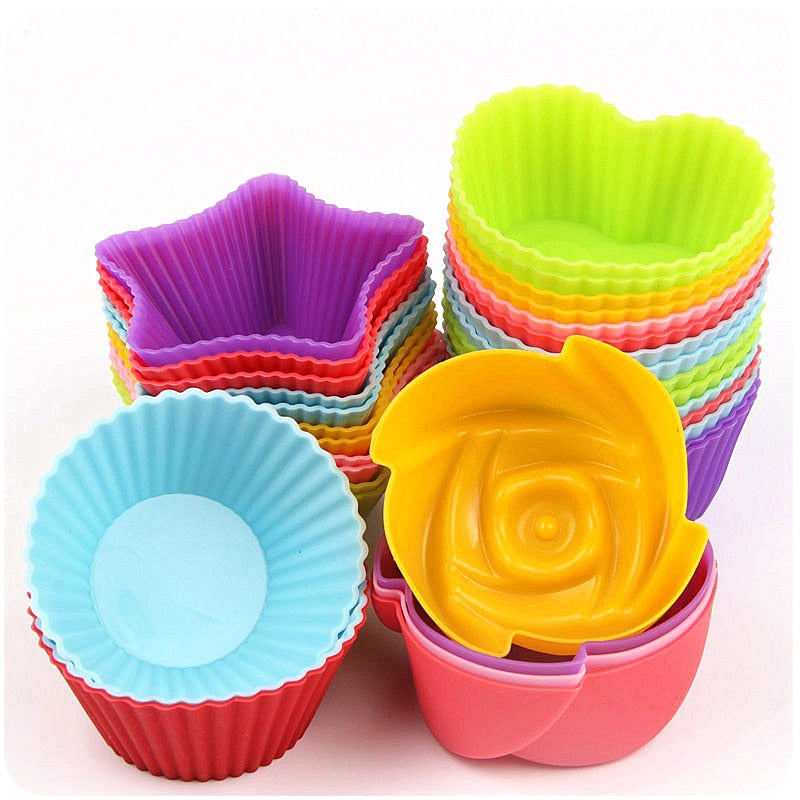 Silicone Cake Cup; Circle, Heart, Star or Flower Shapes