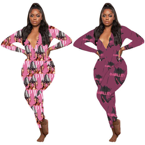 Long Sleeve Casual Print Jumpsuit
