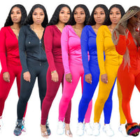 Solid Color Women Long Sleeve Sporty Two Pieces Outfits S-XXL