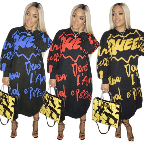 Long Sleeve O-Neck Letter Print Long Causal Dress