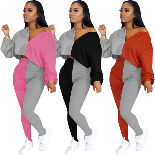 Colorblock Women Outdoor Two Piece Set