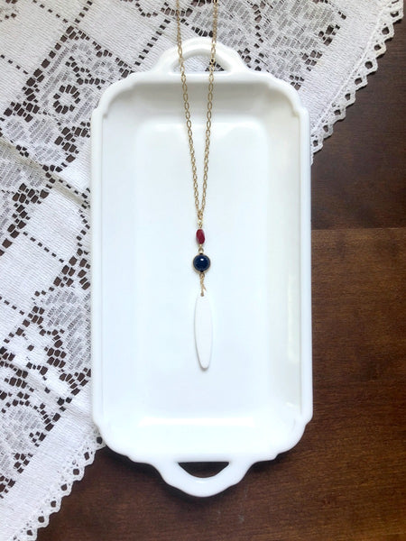 Red White and Blue Dainty Long Necklace