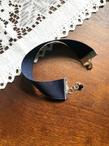 Navy Blue Ribbon Cuff Bracelet