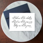 Hide, Rest, Sleep in Him Scripture Greeting Card - Blank Inside