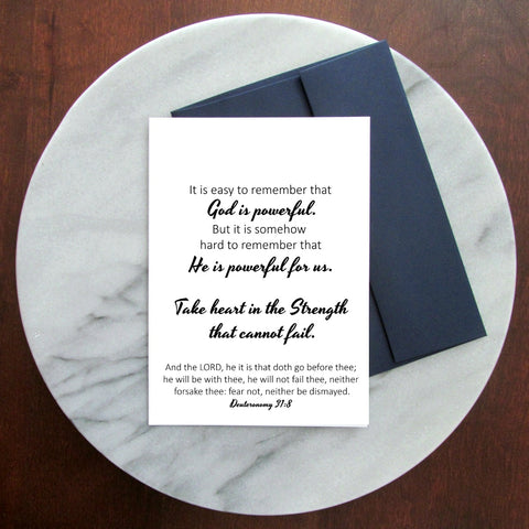 Take Heart Greeting Card - Blank Inside | Deuteronomy 31:8