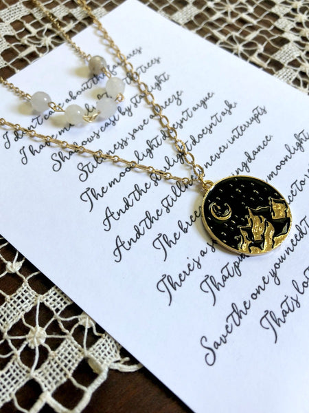 CLARITY Night Sky Moonstone Layered Necklace & Poem
