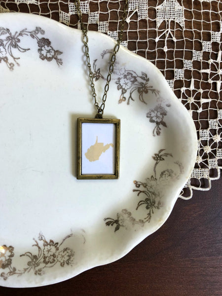 WEST VIRGINIA Gold Large Bronze State Necklace