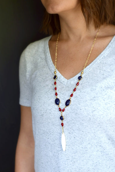 Red White and Blue Long Statement Necklace