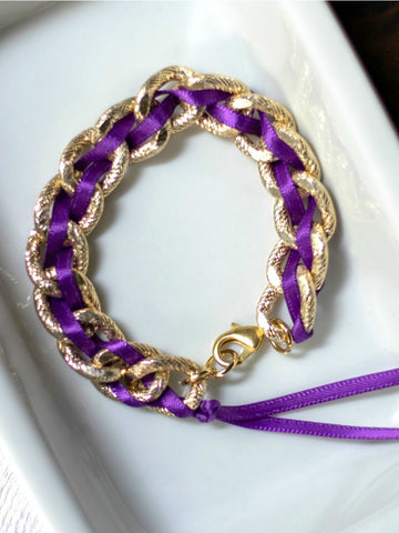 Woven Ribbon Gold Chain Statement Bracelet with Clasp - Choose Your Color