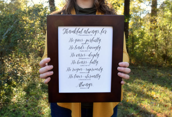 "Thankful Scripture Print | Bible Verses Collage | 5x7"" or 8x10"""