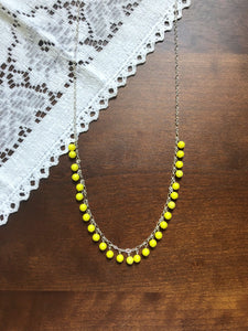 Yellow Beaded Long Silver Necklace