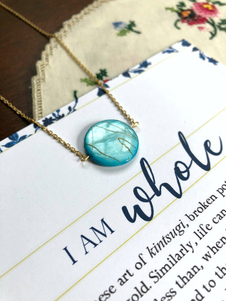 I AM WHOLE Turquoise Blue and Gold Necklace