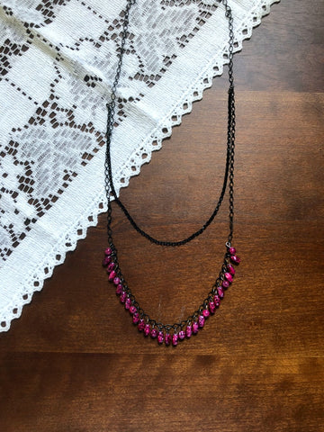 Magenta and Black Beaded Long Necklace