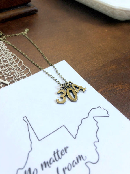 304 WV AREA CODE Necklace