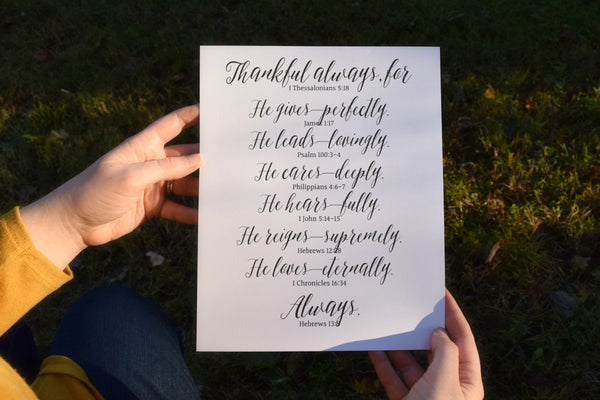 "Thankful Scripture Digital Printable | 5x7"" and 8x10"""
