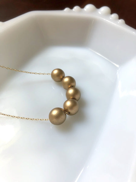 Matte Gold Beaded Layering Necklace