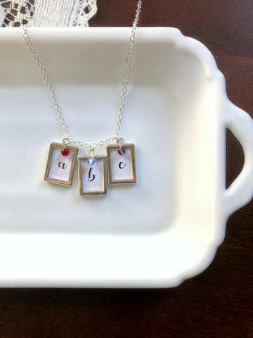 Script Initial and Glass Birthstone Necklace