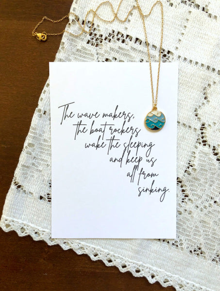 Wave Maker Ocean Waves Necklace & Print