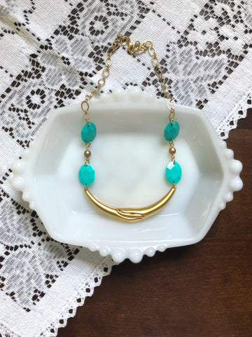 Gold and Turquoise Statement Bib Necklace