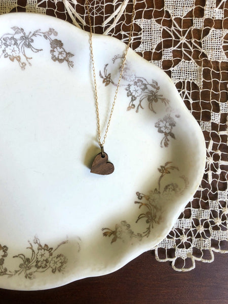 FLAMELESS Wooden Heart Necklace & Poem